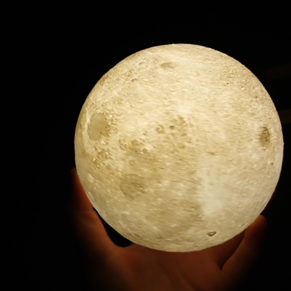 Rechargeable 3D Print Moon Lamp 2 Color Change Touch Switch Bedroom Bookcase Night Light Home Decor Creative Gift light