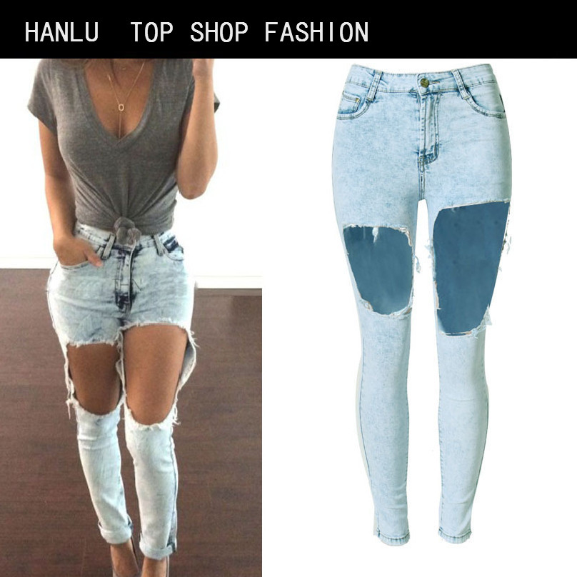 HANLU Jeans Woman Sale Spring And Summer European American Fashion New Female Jeans High Waist Sexy Trousers Holes Exposed  knee jeans woman new real 2017 spring and summer european american style fashion lace pants denim trousers pencil feet free shipping