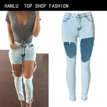 HANLU Jeans Woman Sale Spring And Summer European American Fashion New Female Jeans High Waist Sexy Trousers Holes Exposed  knee