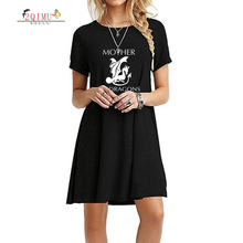 2QIMU 2019 Fashion Womens Summer Cartoon Print Short Sleeve A-Line Dress O-Neck Casual Knee-Length Vestidos Sexy