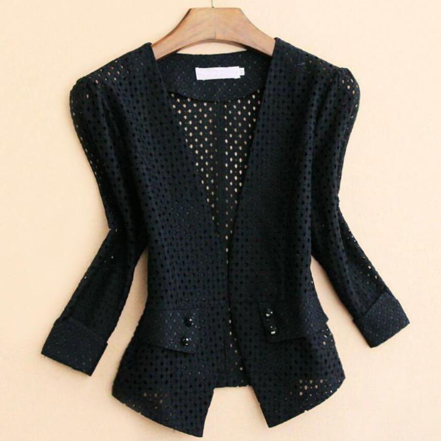 Spring Autumn Fashion V-neck Lace Stand Collar Three Quarter Sleeve Short Blazer Slim And Elegant Office Lady Small Suit
