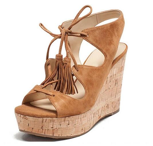 Amazing woman brown wedges fringe high heel sandals Fashion open toe lace-up shoes Ladies open heel high heels Wedges sandals dipsloot 2017 hot open toe lace up woman summer sandals fashion mixed color dress shoes woman wedges shoes lady sandals boots