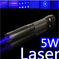 SOS high power military 450nm 5W 30000m flashlight lazer blue laser pointer light burning match/dry wood/black/cigarettes+5 caps