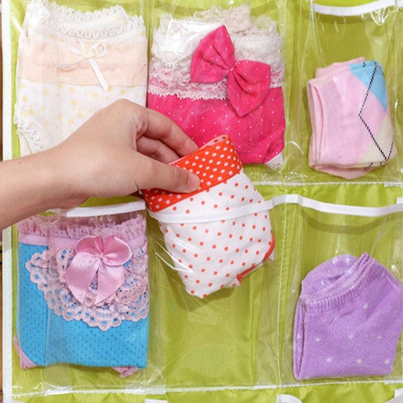 Image 4 - 2019 Organizer Foldable 16 grid Storage Bag Hanging Bag Underwear Panties Socks Hanging Organizador Consolidation Home Supplies-in Hanging Organizers from Home & Garden