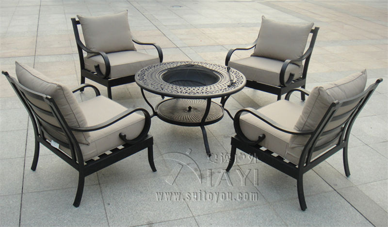 5 piece Best selling cast aluminum Outdoor furnitureBBQ table and chair transport by seain