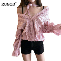 RUGOD Solid Batwing Sleeve Lace Women S Blouse Fashion V Neck Halter Ruffles Women Shirts 2018