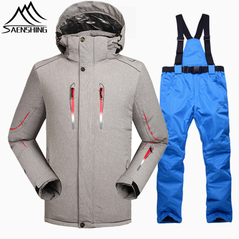 SAENSHING super warm winter ski suit male waterproof 10000 snowboarding suits men breathable skiing ski jacket snowboard pant цена и фото