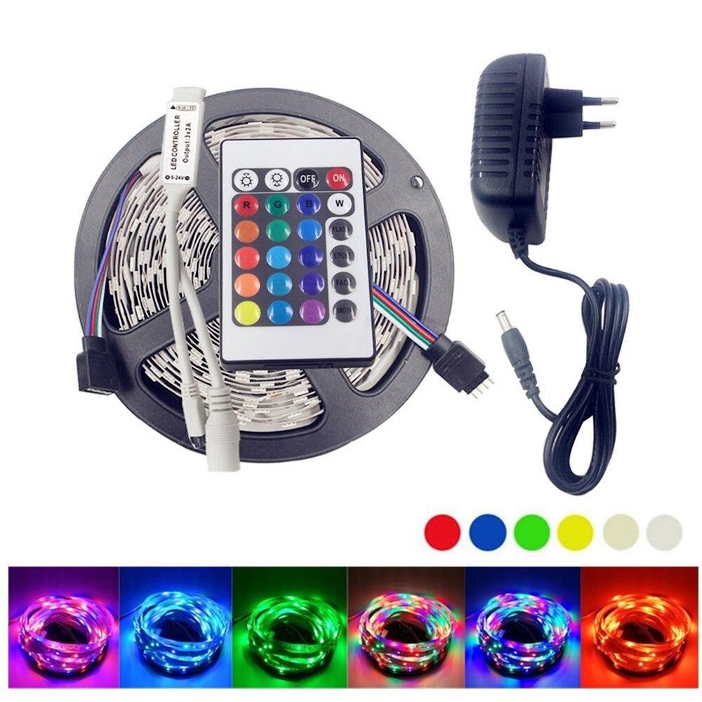 12 v SMD 2835 RGB LED Light Strip Étanche Adaptateur D'alimentation 12 v 2A Adaptateur US EU Plug 24Key IR RGB Télécommande Diode