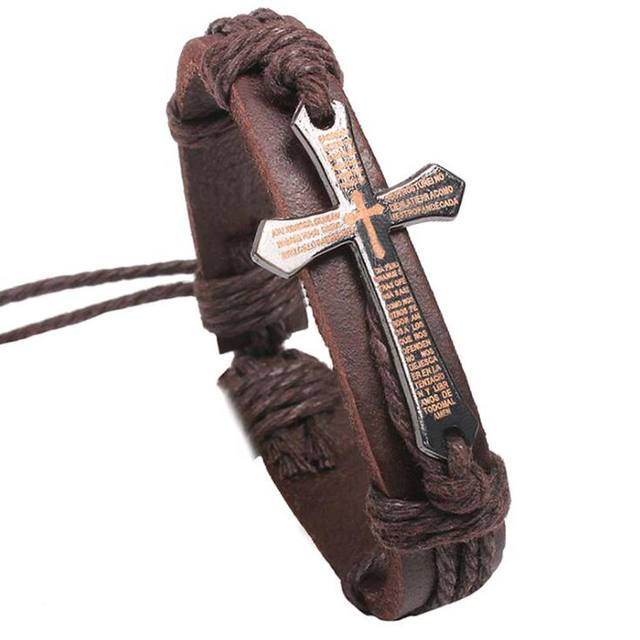 FAMSHIN New Hot Handmade Braid Genuine Leather bracelet Wrap Charm Cross Bracelets 1