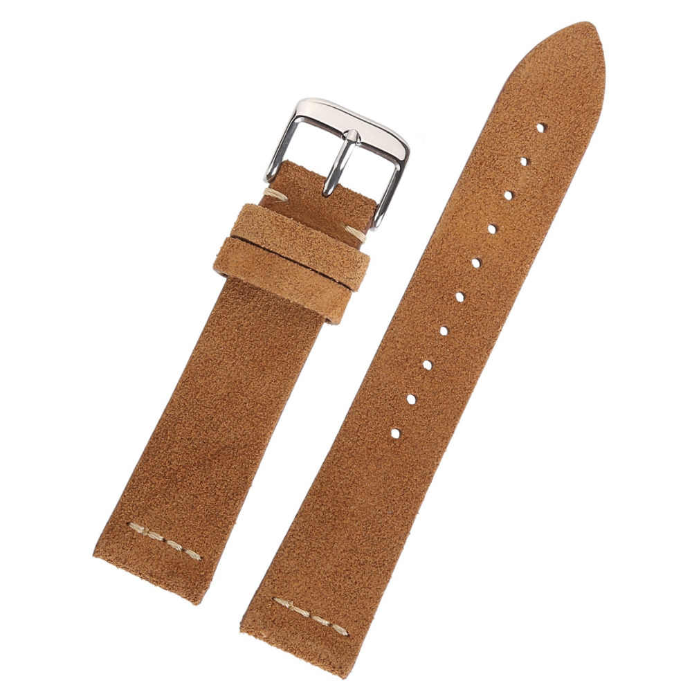 229c3c01bc3 ... Hot Sale High Quality Suede Leather Watch Band With Sliver Buckle Light  Brown Dark Brown Watch ...