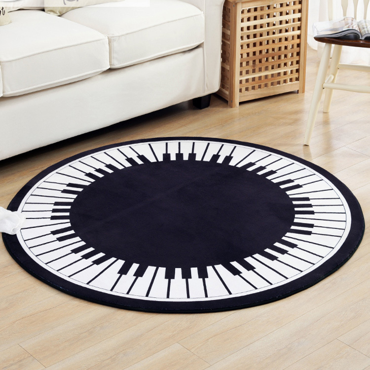 Black and White Piano Keys Round Rug Kids Crawling Mat Blanket Toys Game Coral Flannel Carpet Bedroom Living Room Anti-slip Mat