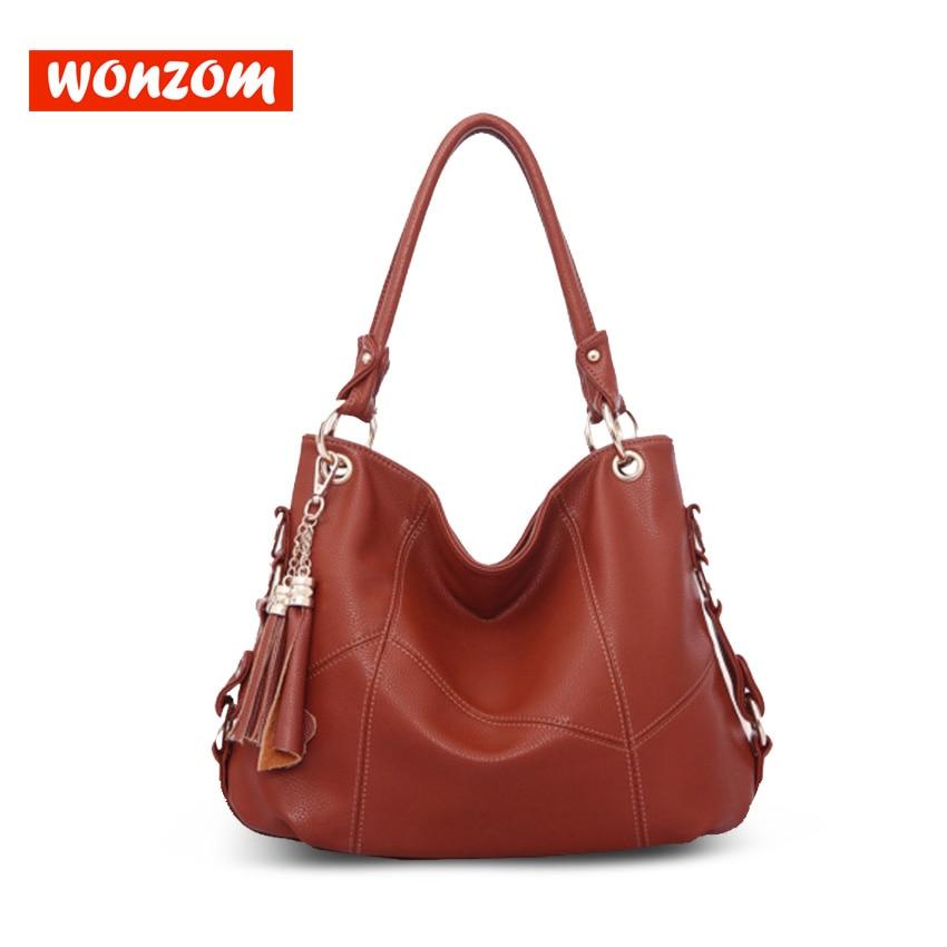 WONZOM Women High Quality Genuine Leather Handbags Shoulder&Crossbody Hobos Bag Large Capacity 2018 Fashion Tote Bolsa Feminina