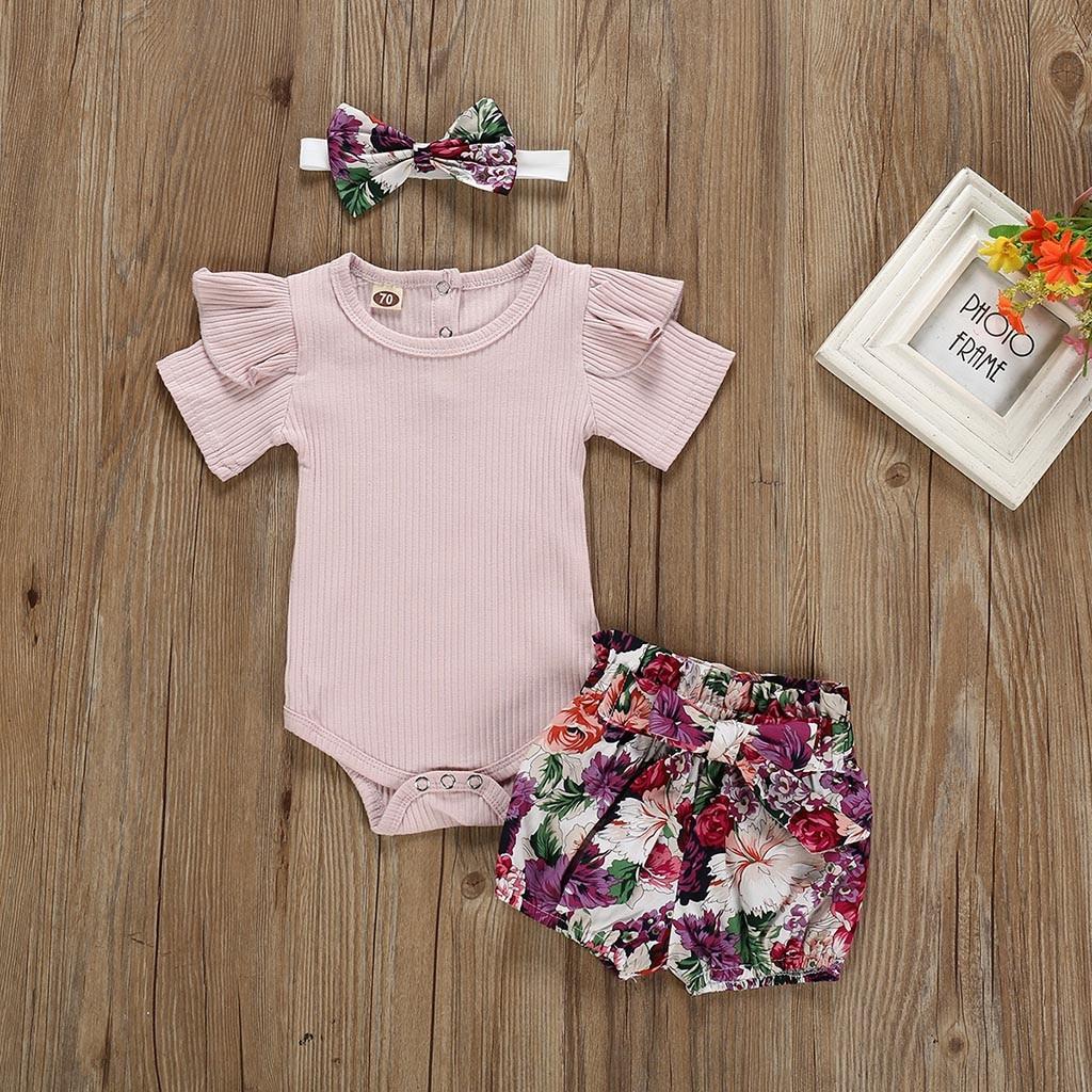 Cute Kids Newborn Baby Girls Ruffle Cotton Top Strap Flowers Romper Dress Outfit