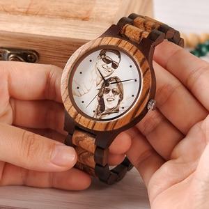 Image 2 - לוגו מותאם אישית הדפסת תמונה משלך גברים שעון ייחודי במבוק עץ שעוני יד מתנה יצירתית לאוהבים או משפחות