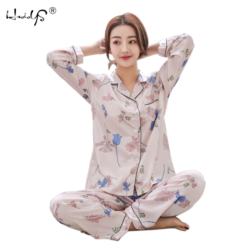 2018 Spring Autumn Women Satin Pajama Sets Long Sleeve Print Sexy Pijama Silk Pyjamas Female Home Suit Tracksuit Women Sleepwear