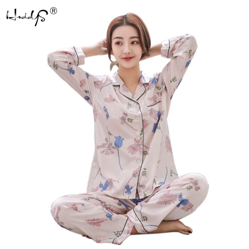 2019 Autumn Winter Women Satin Pajama Sets Long Sleeve Print Sexy Pijama Silk Pyjamas Female Home Suit Tracksuit Women Sleepwear