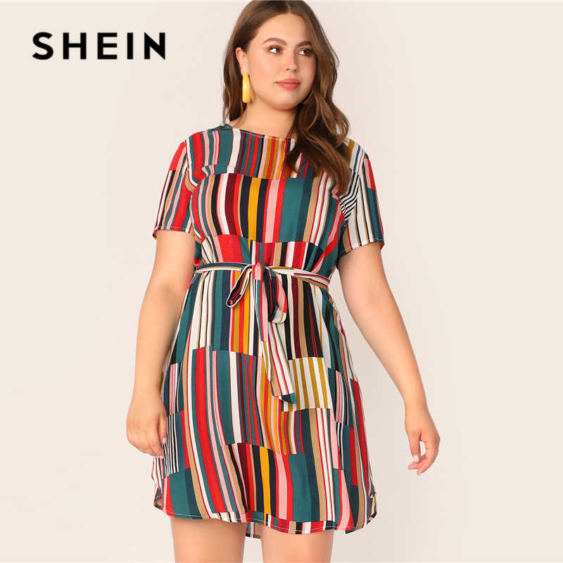 SHEIN Plus Size Colorblock Belted Curved Hem Dress 2019 Women Summer  Multicolor Casual Striped High Waist Dresses With Belt