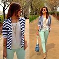 Hot Blazer Women New 2016 Striped Color Jackets Suit Slim Yards Ladies Blazers Work Wear Jacket