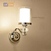 led e14 Nordic Iron Crystal Glass LED Lamp Light Wall lamp Sconce For Foyer Bedroom Corridor