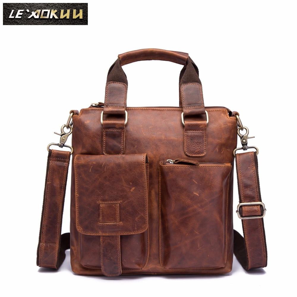 Men Genuine Leather Casual Maletas Business Briefcase 12 Laptop Case Attache Portfolio Tote Bag Maletin Messenger Bag b259