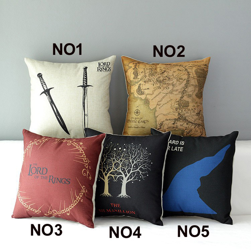 Free Shipping The Lord of The Rings Cotton Linen Pillow Case Vintage Cushion cover Decorations Car Office Sofa Chairs Cojines