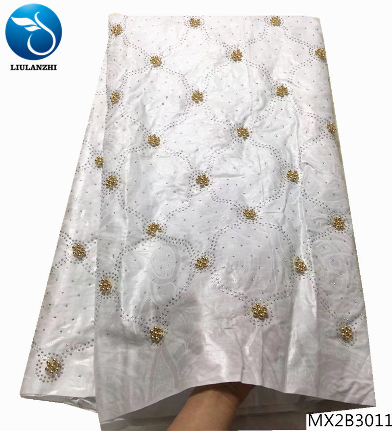 Christmas Fabric 2019.Us 34 72 38 Off Liulanzhi Africain Bazin White Tissu 2019 Christmas Fabric With Gold Beads African Fabric 5 Yards Per Set For Clothing Mx2b30 In