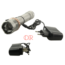 Super bright Gun gray rechargeable 5000LM 4.2V use 1*18650 battery XML-T6 Tactical Flashlight reaer Torch low price+charger