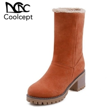 Купить с кэшбэком Coolcept 5 Colors Office Lady High Heel Boots Warm Fur Snow Boots Solid Color Winter Thick Heel Shoes Women Footwear Size 32-43
