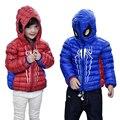 2017 Outono Inverno Crianças Moda Com Capuz de Down Jacket Casaco Curto Spiderman Menina Fina Para Baixo do Casaco E Jaqueta Menino Azul Vermelho