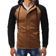 Jacket Dark Door Mens spring and autumn  Casual Slim Zip Cardigan Hoodie Large Size S-XXXL Sling String contrast Sweatshirt