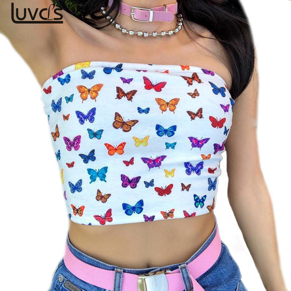Sexy Multicolor Butterfly Print Strapless Slash Neck Tube Tops Fashion New Summer Women Slim Crop Tops Female Streetwear