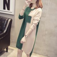 Autumn Winter Women Plus Size 3xl Oversized Loose Fashion Sweater Dresses Female Patchwork Casual Middle Long Pullover Dress D11