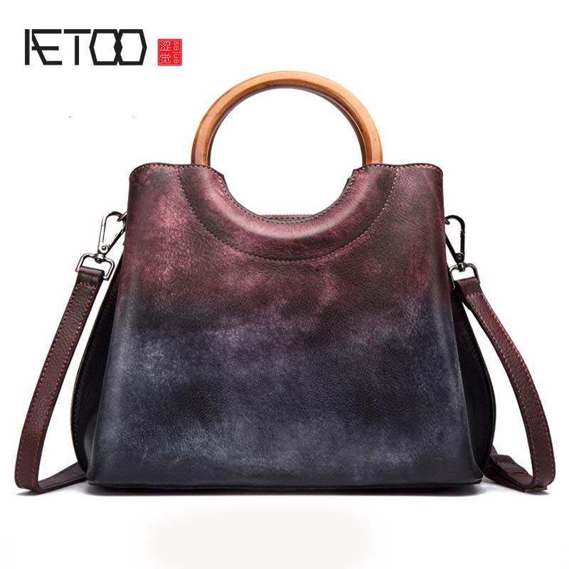AETOO Leather handbags women handmade first layer leather handbag retro trend ladies handbag totel bag aetoo spring and summer new leather handmade handmade first layer of planted tanned leather retro bag backpack bag