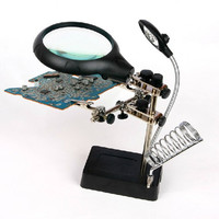 MG16129 C 2.5X 7.5X Led Bench Desk Magnifier Wide Field Desktop Magnifier Loupe Magnifying Glass For Reading Repair