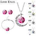 LIEBE ENGEL Silver Color Jewelry Sets Moon Pendant Necklace Earrings Bracelet Tree Of Life Picture Glass Cabochon Women Gift