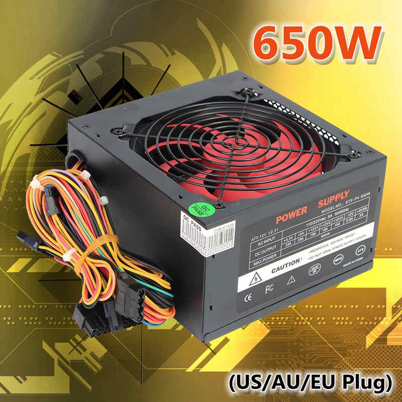 Черный 650 Вт Питание 120 мм вентилятор 24 Булавки pci sata ATX 12 В molex подключить компьютер Питание с США/AU/ЕС Plug