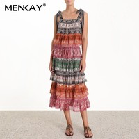 [MENKAY] Spaghetti Strap Boho Ruffle Print Sleeveless Long Dress Women 2019 Summer Elegant Holiday Beach Dress Ladies Fashion