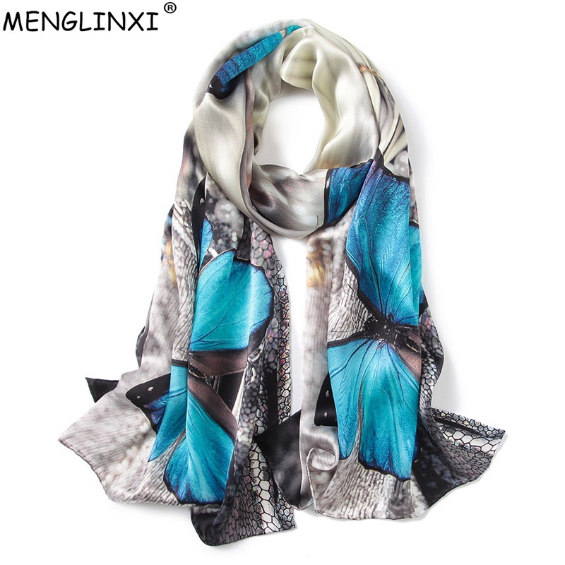 Butterfly Print 100% Silk Scarf Spring Pure Silk Scarf Shawl Hand-rolled Edges Natural Silk Scarf Women Fashion Scarves Wraps