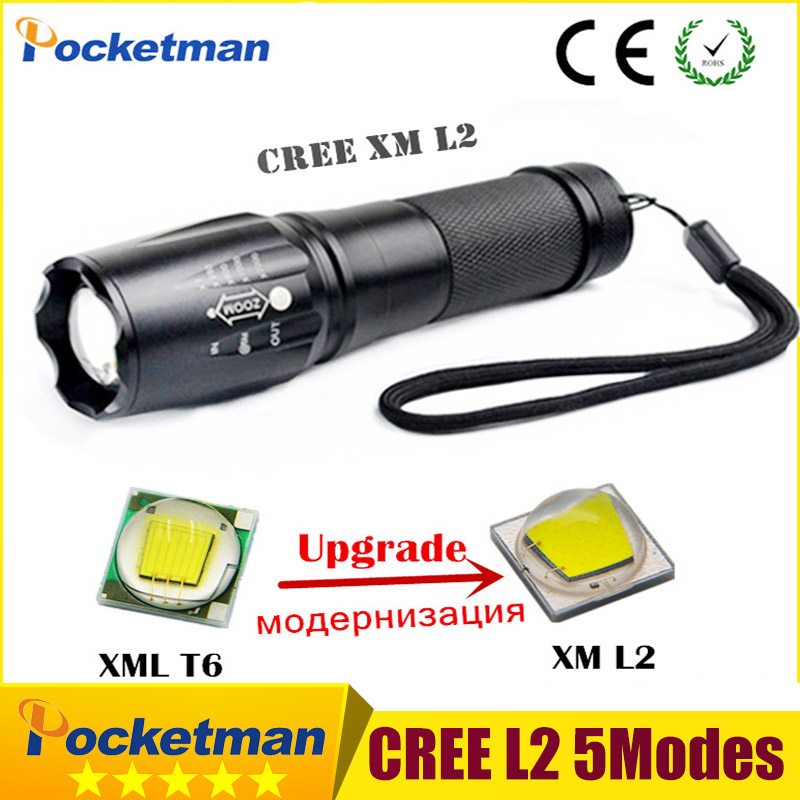 Cree XML-L2 5Modes Flashlight 4000 Lumen lanterna waterproof Torch light zaklampen LED Flashlight Zoomable Lantern Free Shipping 10pcs in 1 free shipping flashlight lanterna q5 led mini black cree 2000lm led flashlight 3 modes zoomable led torch light zk50