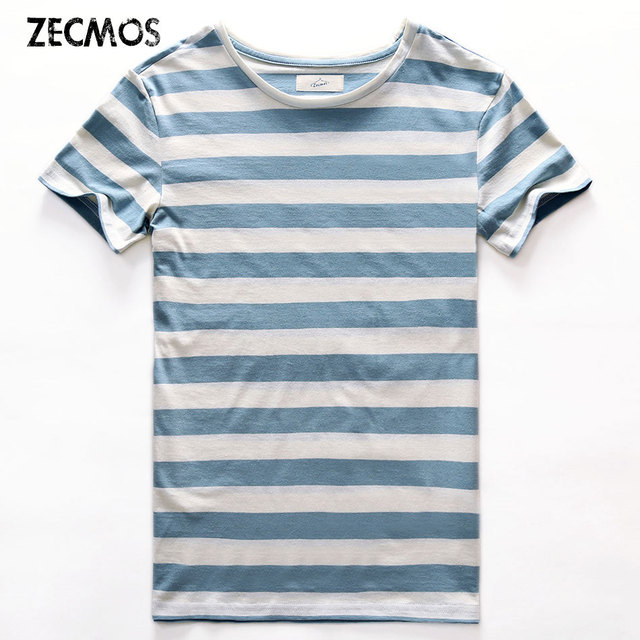 c6c7898373 Zecmos New Stripe T-Shirt Men Slim Fit Navy Blue Stripe T Shirt Man Short  Sleeved Fashion O Neck Striped Top Tees