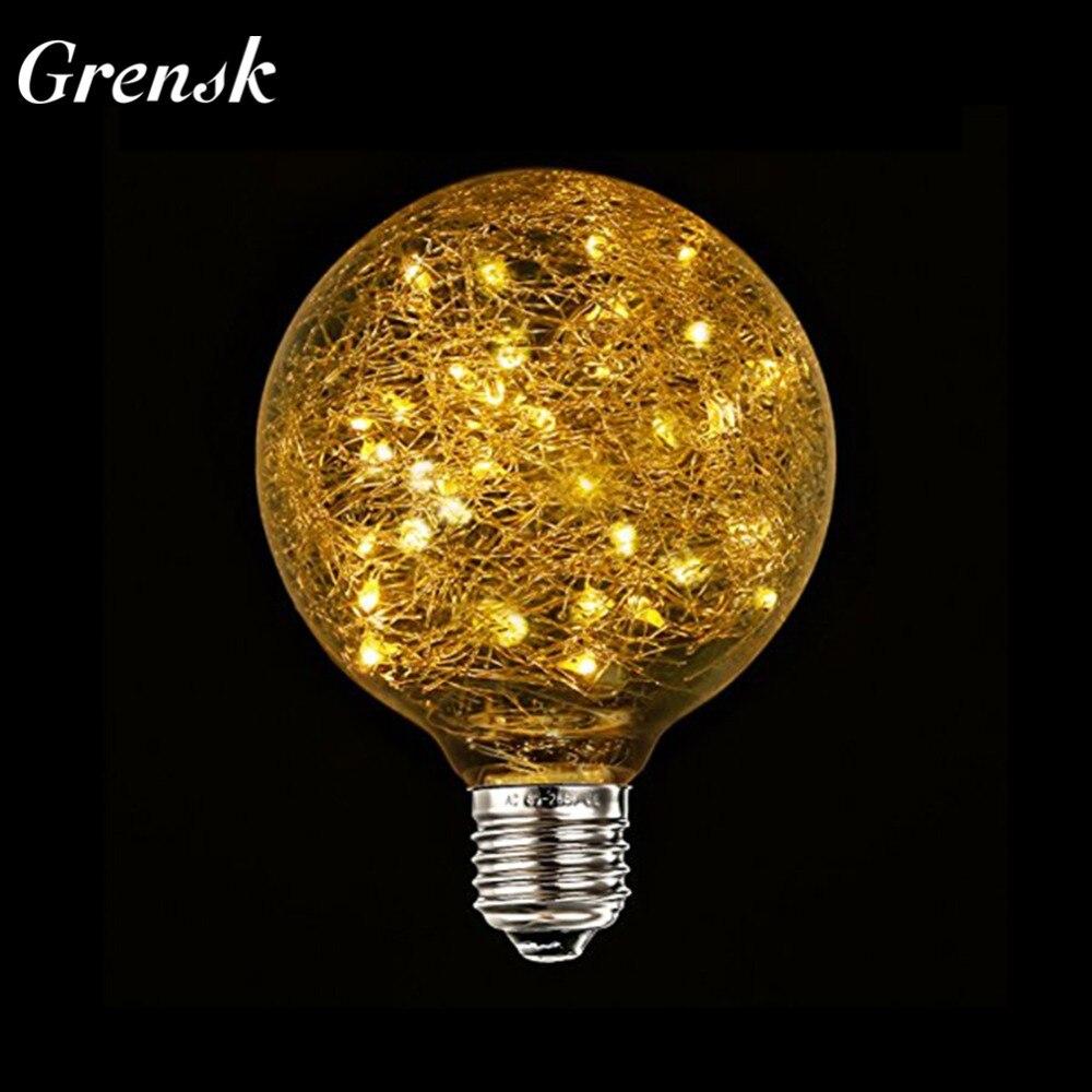 Grensk g95 led globe bulb decorative light bulbs fairy christmas light bulb bird design 50 led string lights inside e27 85 265v