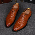 British fashion men office wedding genuine leather shoes alligator skin emboss oxfords shoe pointed toe summer zapatos hombre