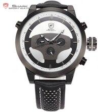 Shark reloj deportivo marca cráneo 3d dial 6 manos día fecha 24 Horas Correa de Cuero Negro Hombres Relogio Cuarzo Kol Saati reloj/SH209