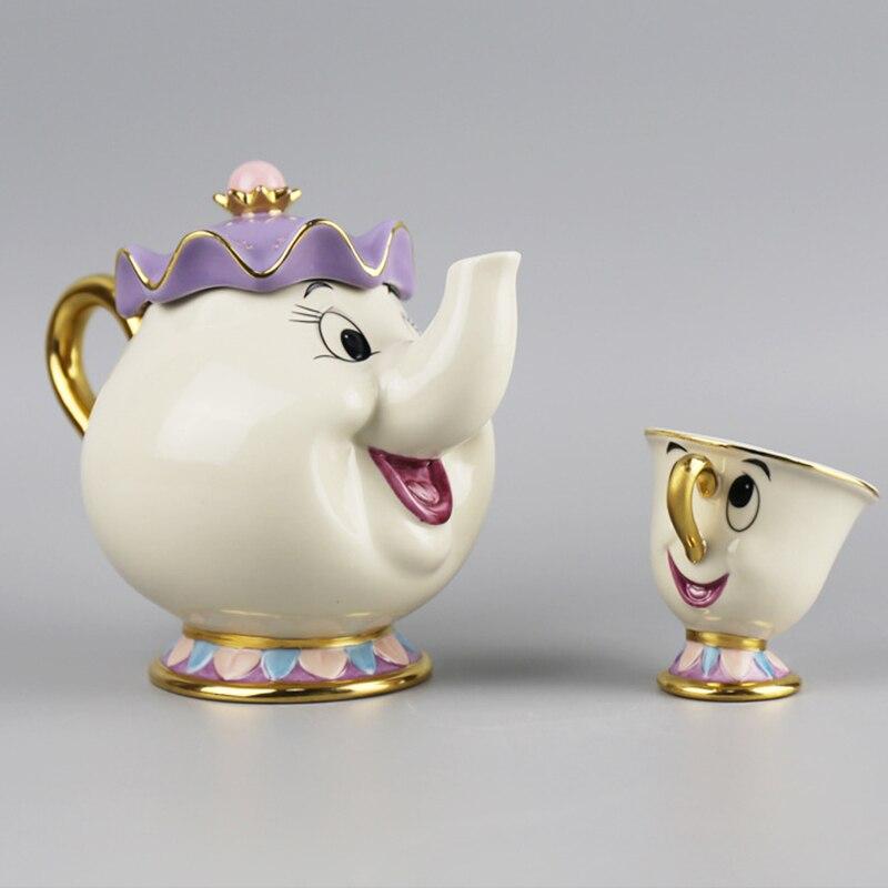 Creative Gift Cartoon Beauty And The Beast Tea Set Teapot Mrs Potts POT Chip Cup Mug