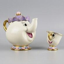 Kreative Geschenk Cartoon Schönheit Und Das Biest Tee-Set Teekanne Mrs Potts TOPF Chip Tasse Becher 2 STÜCKE Ein Satz Schönes Geschenk porzellan