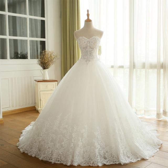 BEPEITHY Sexy Sheer Lace Crystal Ball Gown Wedding Dress Casamento ...
