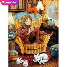 MomoArt Diamond Embroidery Girl Painting Full Square Rhinestone Mosaic Cartoon Home Decoration