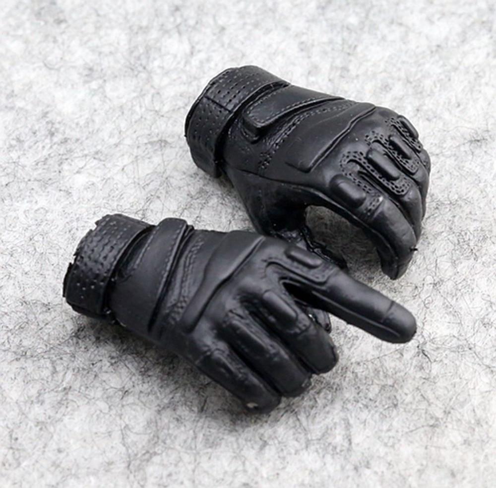1:6 Scale Action Figure Toy Black Gloves Hands DIY Accessories 3pcs