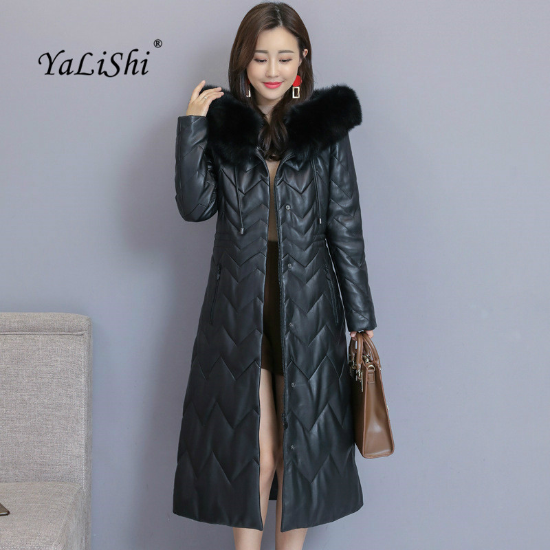 Fashion Autumn Winter Coats 2018 Women Black Full Sleeve Sheep   Leather   Hoodie Fur Collar Casual Long Coat Ladies Outwear Coats