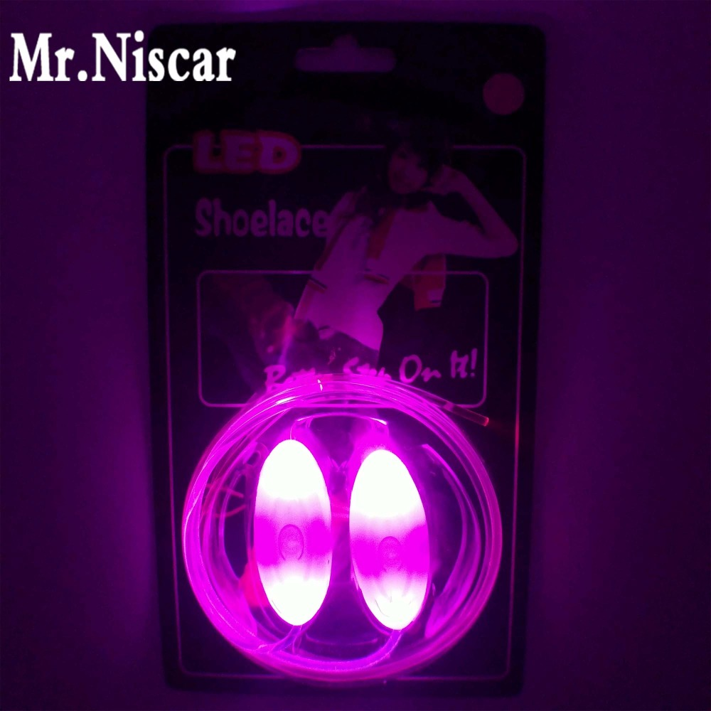 Mr.Niscar 1 Pair Boys Girls Kids Light Up LED Luminous Shoelaces Flash Party Glowing Shoe Laces Strings LED Flashing Shoelace glowing sneakers usb charging shoes lights up colorful led kids luminous sneakers glowing sneakers black led shoes for boys